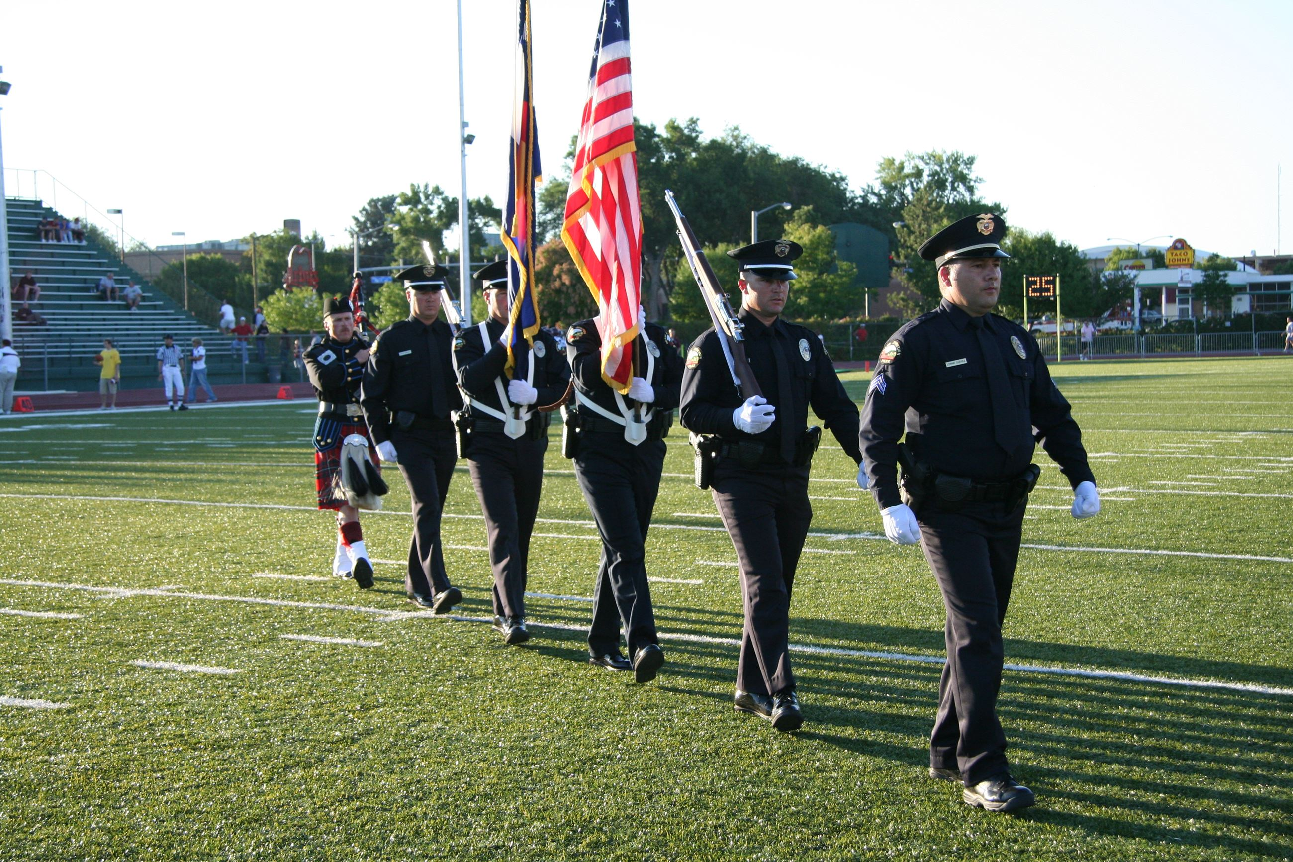 GJPD Honor Guard marching